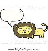 Big Cat Cartoon Vector Clipart of a Talking Happy Lion by Lineartestpilot