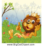 Big Cat Cartoon Vector Clipart of a Talking King Lion in a Bush by Graphics RF