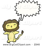 Big Cat Cartoon Vector Clipart of a Talking Lion by Lineartestpilot