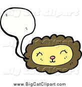Big Cat Cartoon Vector Clipart of a Talking Lion Face by Lineartestpilot