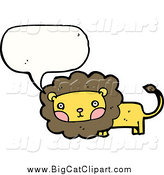 Big Cat Cartoon Vector Clipart of a Talking Lion with Blushing Cheeks by Lineartestpilot