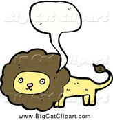Big Cat Cartoon Vector Clipart of a Talking Male Lion by Lineartestpilot