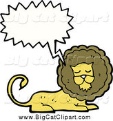 Big Cat Cartoon Vector Clipart of a Talking Resting Lion by Lineartestpilot