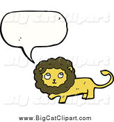 Big Cat Cartoon Vector Clipart of a Talking Thinking Lion by Lineartestpilot