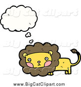 Big Cat Cartoon Vector Clipart of a Thinking and Blushing Male Lion by Lineartestpilot