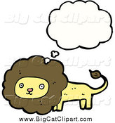 Big Cat Cartoon Vector Clipart of a Thinking Brown and Yellow Lion by Lineartestpilot