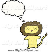 Big Cat Cartoon Vector Clipart of a Thinking Happy Yellow Lion Standing Upright by Lineartestpilot
