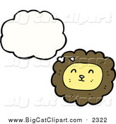 Big Cat Cartoon Vector Clipart of a Thinking Lion by Lineartestpilot