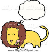 Big Cat Cartoon Vector Clipart of a Thinking Lion Licking His Chops by Lineartestpilot