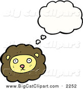 April 16th, 2016: Big Cat Cartoon Vector Clipart of a Thinking Male Lion by Lineartestpilot