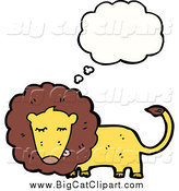 Big Cat Cartoon Vector Clipart of a Thinking Male Lion by Lineartestpilot