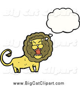 Big Cat Cartoon Vector Clipart of a Thinking Roaring Male Lion by Lineartestpilot