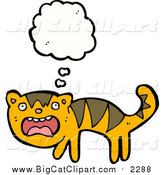 Big Cat Cartoon Vector Clipart of a Thinking Scared Tiger by Lineartestpilot