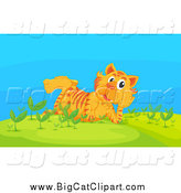 Big Cat Cartoon Vector Clipart of a Thinking Tiger Resting in a Garden by Graphics RF