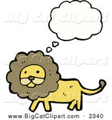 Big Cat Cartoon Vector Clipart of a Thinking Walking Lion by Lineartestpilot