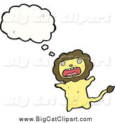 Big Cat Cartoon Vector Clipart of a Thinking Worried Lion by Lineartestpilot