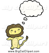 Big Cat Cartoon Vector Clipart of a Thinking Yellow Lion by Lineartestpilot