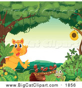 Big Cat Cartoon Vector Clipart of a Tiger and Bugs in a Forest by Graphics RF