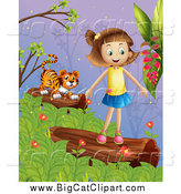 August 3rd, 2015: Big Cat Cartoon Vector Clipart of a Tiger and Happy Caucasian Girl on Logs at Dusk by Graphics RF