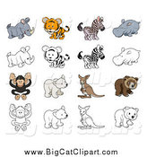 Big Cat Cartoon Vector Clipart of a Tiger and Wild Animals in Color and Black and White by AtStockIllustration