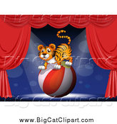 Big Cat Cartoon Vector Clipart of a Tiger Balancing on a Ball on Stage by Graphics RF