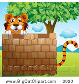 Big Cat Cartoon Vector Clipart of a Tiger Behind a Brick Wall near a Tree by Graphics RF