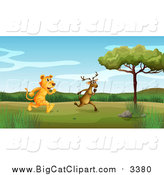 Big Cat Cartoon Vector Clipart of a Tiger Chasing a Deer in a Valley by Graphics RF