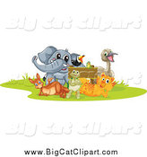 Big Cat Cartoon Vector Clipart of a Tiger Elephant Toucan Frog Kangaroo Tortoise and Emu Around a Sign by Graphics RF