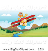 Big Cat Cartoon Vector Clipart of a Tiger Flying a Plane over a Stream by Graphics RF