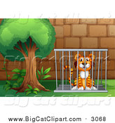 Big Cat Cartoon Vector Clipart of a Tiger in a Cage by Graphics RF