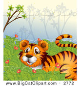 May 4th, 2016: Big Cat Cartoon Vector Clipart of a Tiger in a Jungle by Graphics RF