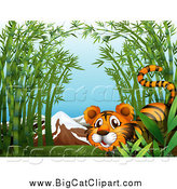 Big Cat Cartoon Vector Clipart of a Tiger in Bamboo by Graphics RF