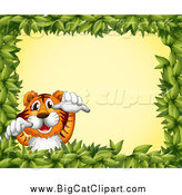 Big Cat Cartoon Vector Clipart of a Tiger Leaping in a Leaf Frame over Yellow by Graphics RF