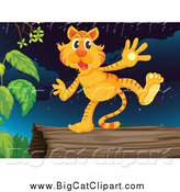 Big Cat Cartoon Vector Clipart of a Tiger on a Log by Graphics RF