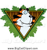 Big Cat Cartoon Vector Clipart of a Tiger over a Safari Triangle with Leaves by Cory Thoman