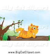 Big Cat Cartoon Vector Clipart of a Tiger Resting on a Log by Graphics RF