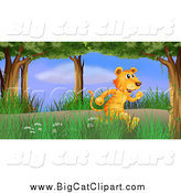 Big Cat Cartoon Vector Clipart of a Tiger Running Through the Woods by Graphics RF