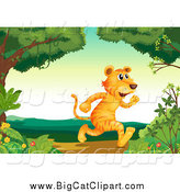 Big Cat Cartoon Vector Clipart of a Tiger Running Upright in the Woods by Graphics RF