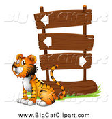 Big Cat Cartoon Vector Clipart of a Tiger Sitting Next to Wooden Directional Sign Post by Graphics RF