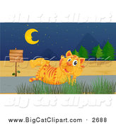 Big Cat Cartoon Vector Clipart of a Tiger Thinking by a Sign on a Road at Night by Graphics RF