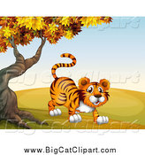 Big Cat Cartoon Vector Clipart of a Tiger Under an Autumn Tree by Graphics RF