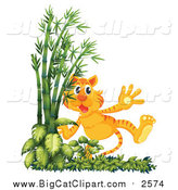 Big Cat Cartoon Vector Clipart of a Tiger Walking by Bamboo by Graphics RF