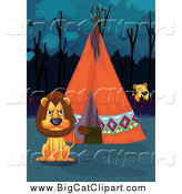 Big Cat Cartoon Vector Clipart of a Tiger Watching a Lion at a Tipi by Graphics RF