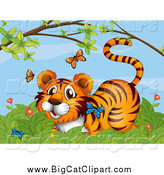 Big Cat Cartoon Vector Clipart of a Tiger Watching Butterflies in a Bush by Graphics RF