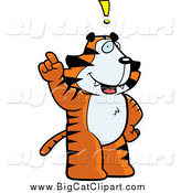 Big Cat Cartoon Vector Clipart of a Tiger with an Idea by Cory Thoman