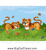 Big Cat Cartoon Vector Clipart of a Tigers Playing with Butterflies by Graphics RF