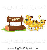 Big Cat Cartoon Vector Clipart of a Two Tigers by a Wooden Sign by Graphics RF