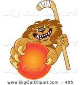 Big Cat Cartoon Vector Clipart of a Vicious Lion Character Mascot Grabbing a Hockey Ball by Toons4Biz