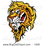 Big Cat Cartoon Vector Clipart of a Vicious Male Lion Mascot Head by Chromaco