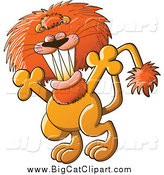 Big Cat Cartoon Vector Clipart of a Welcoming Lion with Open Arms by Zooco